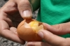 Eier kochen am Vulkan