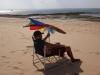 Kampf mit dem Sonnenschirm